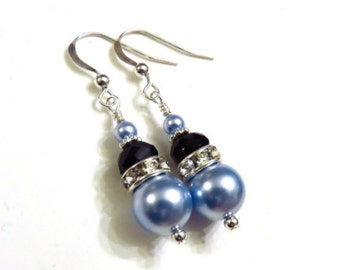 Light Blue Swarovski Pearl Earrings