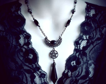 Gothic Witch, pentagram necklace, wicca, occult, magick, pentacle pendant, black crystal glass, goddess, crescent, talisman, pagan, wiccan