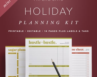Mini Holiday Planning Kit, Half Letter Christmas Planner Organizer, Gift Tags, To Do List, Decor, Menu Planner  /  Household PDF Printables