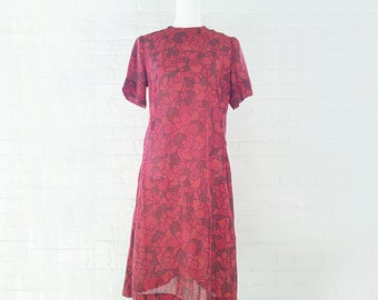 1960s Red Floral Shift Dress 60s Vintage Mod Cotton Voile Dark Flower Power Large Psychedelic Autumn Fall Garden Party Dress