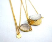 Layering Stacking - White Druzy Necklace - Blush Agate Quartz Crystal Necklace - Tiny Gold Dot Necklace - Modern Simplicity Jewelry