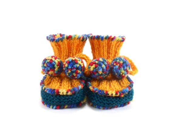 Hand Knitted Baby Booties - Yellow and Blue