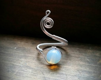 Adjustable Spiral Opalite Moonstone Wire Wrapped Ring