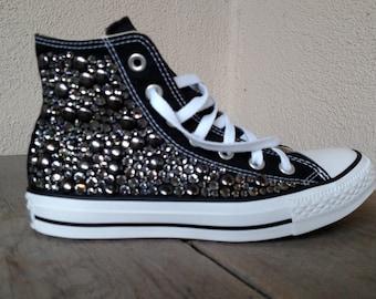 Black Diamond Swarvoski Studded Converse Shoes