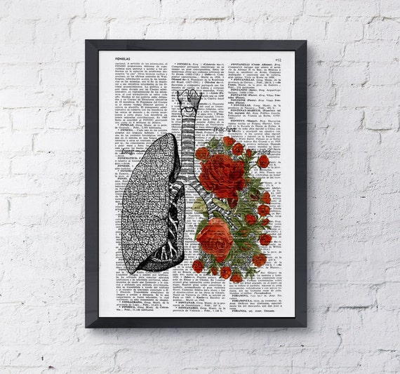 Summer Sale Lungs with red roses human Anatomy Print - Anatomy art gift, love art, human anatomy art, lungs and roses art SKA064