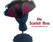 The Scarlett Pirate -  A Gorgeous Burgundy Tricorn with Black Feather & Black /Gold Trim