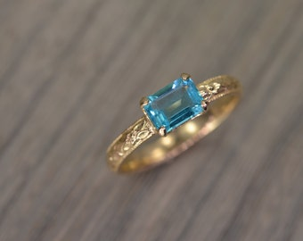 Apatite Ring, all sizes, emerald cut silver gold milgrain solitaire teal blue - Fitz Ring