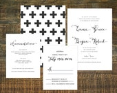 Printable Swiss Cross Wedding Invitation | Black and White, Custom Wedding, Calligraphy, Nordic Style Wedding, Custom Invitation