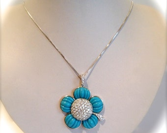 Vintage Sterling Silver Turquoise and Pave Estate Pendant Flower Necklace Blue Stone White Stone