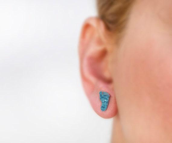 Footprint earrings, footprint jewelry, hammered earrings, blue earrings, titanium earring, tiny stud, small stud earrings, handmade earrings