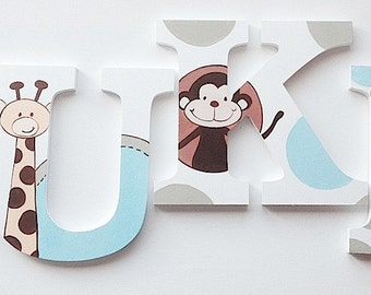 Zoo Fun Themed Wooden Wall Name Letters / Hangings, Hand Painted for Boys and Girls Rooms, Play Rooms and Nursery Rooms
