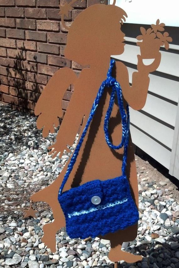 Crocheted purse in bright blue - 10% off!