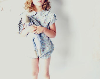 The Seaside Peter Pan Collar Girls Floral Blouse in Blue and Pink Floral Cotton from Fleur + Dot