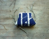 Navy blue purse birch tree bird purse cotton purse hemp Ink and Spindle natural kisslock clasp organic purse woodland forest australia