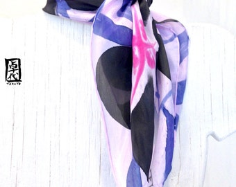 Silk Scarf Square Handpainted, Spring Scarf, Black, Lavender and Navy Blue Japanese Primroses Scarf, Approx 22x22 inches.