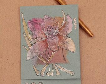 Pink orchid on mint green - fantasy flower - Blank art card - Handmade greeting card - light pink, orange, silver, peach, light green - OOAK