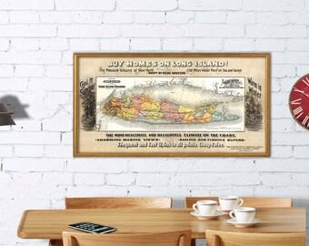 "Long Island map - Vintage map of Long Island - Archival print -  Real estate map of Long Island - 30 x 15.5 "" Print"