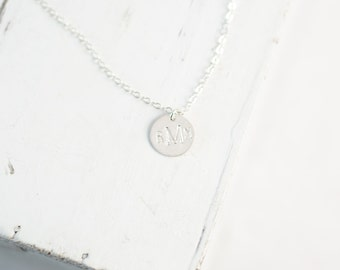 Sterling Silver Initial Necklace | Personalized Monogram Coin Necklace | Disc Necklace