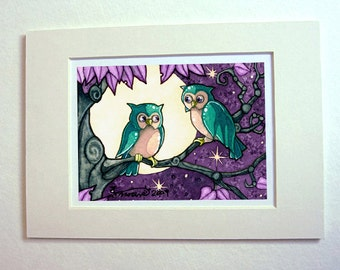 Owl art print love birds couple painting in watercolor 5x7 matted