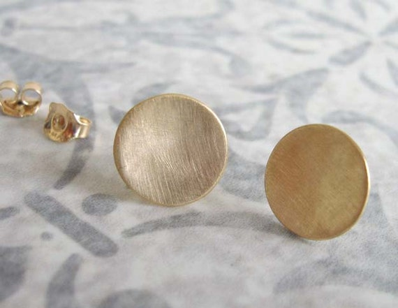 Gold disc studs , Gold circle post earrings , Simple everyday gold stud earrings , Handmade by Adi Yesod