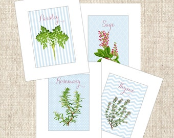 Herb Illustrations, parsley sage rosemary thyme, kitchen prints art , set of 4, economical, herb botanical, cottage art, herb kitchen prints