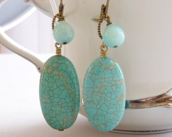 Turquoise Dangle Earrings Blue Opal Gemstone Jewelry Bronze Brass Rustic Wedding Jewelry Aqua Bridesmaid Earrings Jewelry