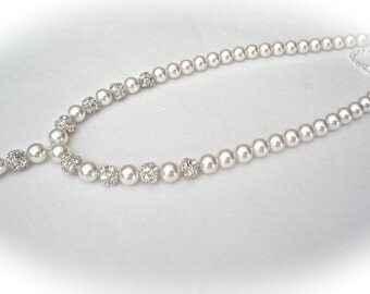 Pearl drop necklace ~ Bridal jewelry ~ Swarovski pearls and crystals ~  Brides necklace ~ Pearl necklace with pendant ~ Gift