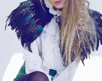 Black, teal and natural feather shrug, steampunk cape, feathered capulet