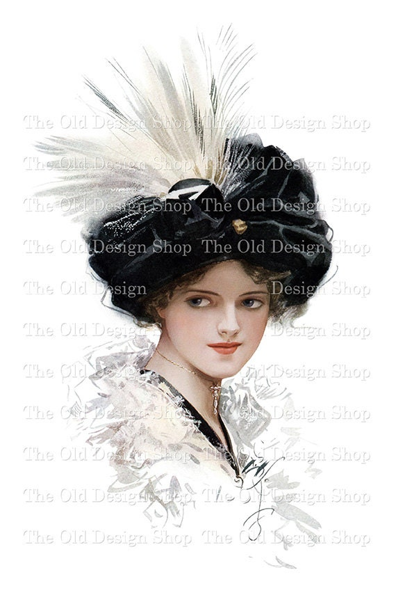 Harrison Fisher Lady PRETTY NEIGHBOR Black Turban White Feather Vintage Printable Digital Download JPG Image