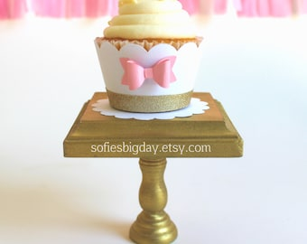 Cupcake Wrappers w/ Pink Bow-Cupcake wrappers-Gold trimmed cupcake wrapper-cupcake wrappers--Baby Shower-1st birthday-gold baby showers-12