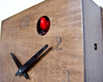 Quercus Numerical - Modern Cuckoo Clock in Walnut finish