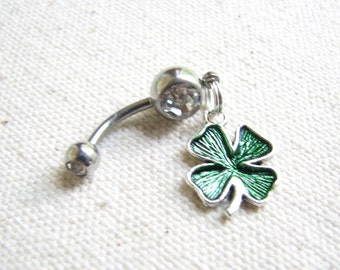 Shamrock Belly Ring - St Patricks Day Irish Jewelry, Belly Button Jewelry Lucky 4 Leaf Charm Bellybutton Ring  Belly Button Ring