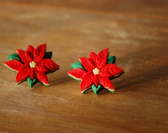 Poinsettia Earrings -- Red Poinsettia Studs, Flower Earrings