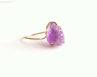 Rough Amethyst Ring, Raw Amethyst Ring, Boho Ring, Raw Crystal Ring, Wire Wrapped Raw Stone Ring