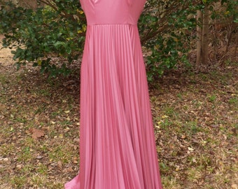 Rosy Pink Evening Gown, Floor Length Backless Prom Dress, Size 9/10, Pink Bridesmaids Dress