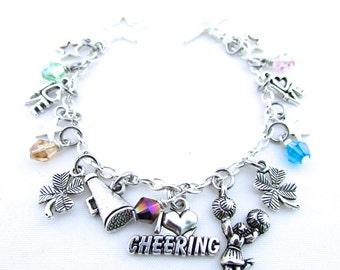 Cheerleading Charm Bracelet, Cheer Bracelet, Cheer Gift, I Love Cheering
