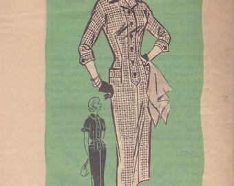 1950s Button Front Sheath Dress Pattern Mail Order 4592 Size 12 Uncut