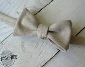 Natural Linen Bow Tie~Mens Self Tie Bow Tie~Mens Pre-Tied~Anniversary Gift~HoBo Ties~Cotton Bow Tie~Wedding~Flax Tie~Linen Tie