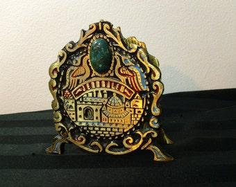 Vintage Brass Jerusalem Napkin or Letter Holder