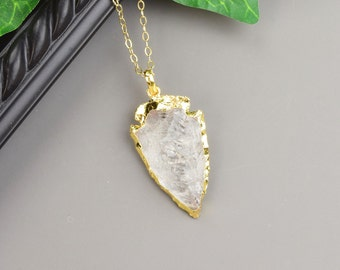 Quartz Arrowhead Necklace - Gold Arrowhead Necklace - Layered Necklace - Layering Necklace