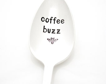Coffee Buzz. Stamped spoon for coffee lover gift. Vintage Coffee Spoon with Bee by Milk & Honey.