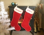 Vintage Christmas Stocking Red and White Felt Embroidered Michael or John, Mid Century Retro Adorable
