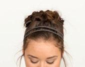 Charcoal Gray Double Strand Crochet Headband, Boho Style, Music, Hippie, Festival, Stretchy Elastic Hairband Handmade, Chain, Summer Wedding
