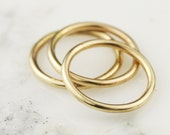 Three 14k / 18k / 22k Solid Gold Full Round Stacking Rings - Yellow White or Rose Gold - 1.65mm