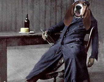 Merle, Drunken Dog, Vintage Hound Dog, Anthropomorphic, Altered Photo, Basset Hound, Photo Collage Art - Funny Animal - Unusual Gift Idea