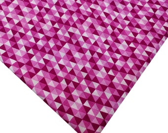 Pink and White Fabric Soft Cotton Fabric - Triangle Block Printed Cotton Fabric - Printed Cotton Fabric By Yard
