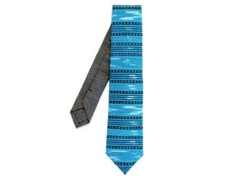 Aqua Ikat Tie, guatemalan necktie
