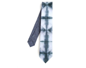 Shibori Chambray Tie, tie dye necktie