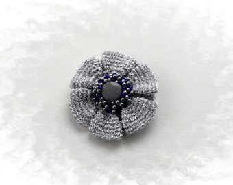 Crochet Brooch - Silver Brooch - Beaded Brooch - Mother Day Gift - Party Wedding Accessory - Boutonniere