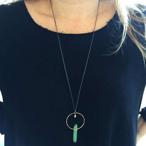 Monolith Necklace in Bronze, Chrysoprase & pyrite